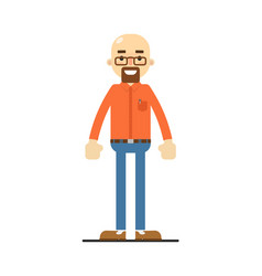Happy bald and bearded man character vector