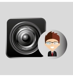 Happy businessman speaker network media icon vector