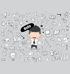 Happy face businessman business doodles objects vector
