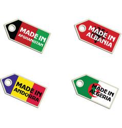 label Made in Afghanistan Albania Algeria Andorra vector image vector image