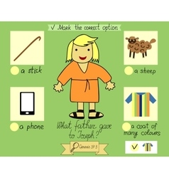 Lesson and job for kids about joseph and his vector