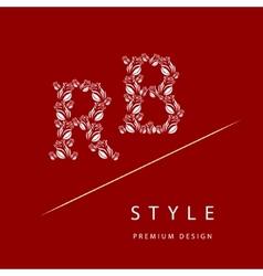 Letter b r from roses monogram design elements vector