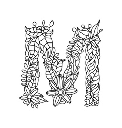 Letter m coloring book for adults vector