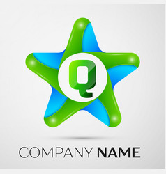 Letter q logo symbol in the colorful star on grey vector