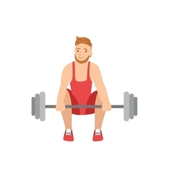 Man Doing Weight Lifting In Red Uniform vector image