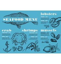 Menu seafood restaurant food template placemat vector