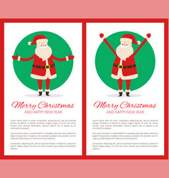 merry christmas claus and text vector image
