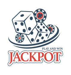 play and win at casino jackpot promotional emblem vector image