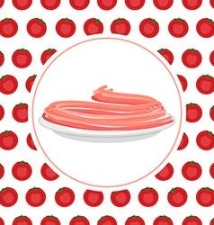 Red tomato spaghetti against backdrop of a tomato vector
