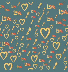 Romantic seamless pattern with hearts bow boy vector
