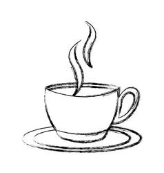 sketch draw coffee cup cartoon vector image