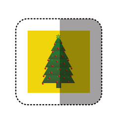Sticker yellow square frame with christmas tree vector