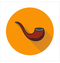 Tobacco pipe simple icon on circle background vector