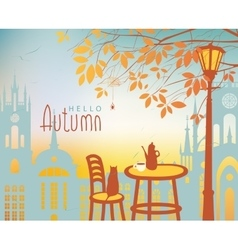 Urban autumn landscape with a street cafe vector