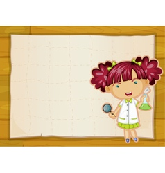 girl and paper sheet vector image