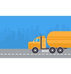 Yellow road tanker vector