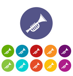 trumpet toy icons set flat vector image