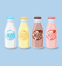 Labels on milk bottles vector