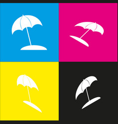 umbrella and sun lounger sign  white icon vector image