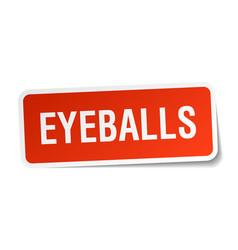 Eyeballs square sticker on white vector