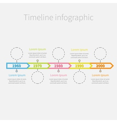 Timeline infographic ribbon arrows dashed circles vector