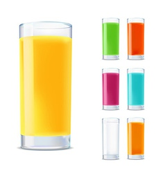 Set of glasses with juice isolated on white vector
