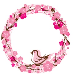 Cherry blossoms or sakura flowers wreath vector