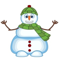 Snowman wearing a green hat and green scarf vector image