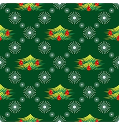 Seamless pattern with snowflakes and fir-trees vector