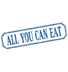 All you can eat square blue grunge vintage vector