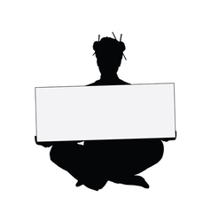 Girl holding card silhouette vector