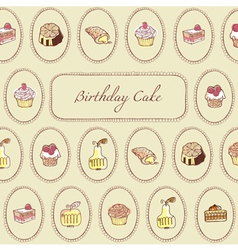Cupcakes Pattern Birthday Card vector image