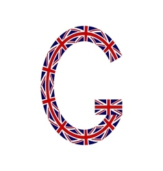 Letter g made from united kingdom flags vector