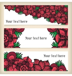 Banners with doodling flowers like roses in tattoo vector