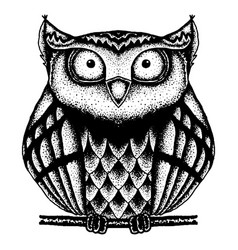 Black and white owl painted dots vector