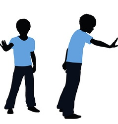 Boy silhouette in pushing pose vector