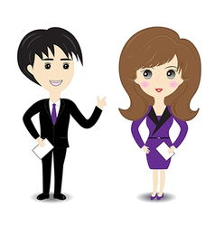 Business man and woman on white background vector image vector image