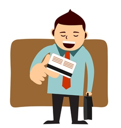 businessman paying with his credit card vector image