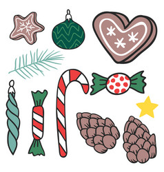 Christmas hand drawn gifts style holiday season vector