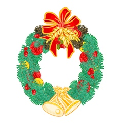 Christmas wreath with bells and pine cone vector