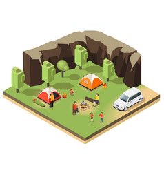 Colorful isometric outdoor recreation concept vector