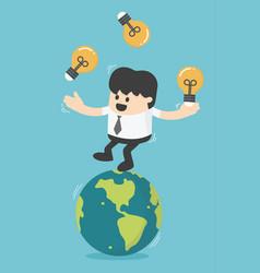 concept businessman play gymnast bulbs light on vector image