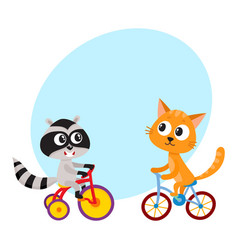 Cute little raccoon and cat characters riding vector