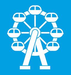 Ferris wheel icon white vector