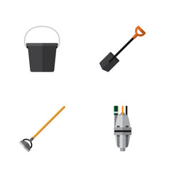 flat icon dacha set of tool pump pail and other vector image vector image