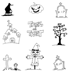 Halloween element doodle vetor art castle tomb vector