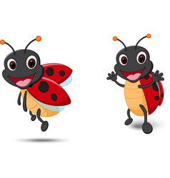 Happy lady bug cartoon vector