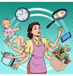 Housewife work time family success woman vector