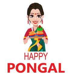 Indian girl with two pots happy pongal greeting vector