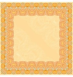 Orange abstract design square frame vector